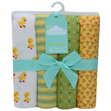 4 Piece Chicks Cotton Baby Blanket Set