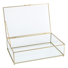 Clear Glass Storage Box with Gold Frame