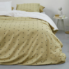 Yellow Striped Hearts Cotton Quilt Cover Set