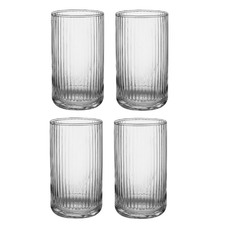 Zephyr Ribbed Clear 410ml Highball Tumblers (Set of 4)