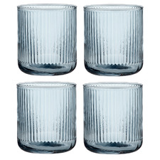 Zephyr Ribbed Sky Blue 370ml Glass Tumblers (Set of 4)