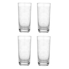 Linear Etched Clear 700ml Highball Tumblers (Set of 4)