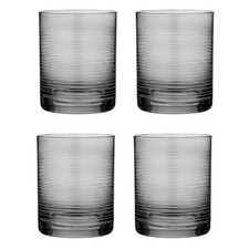 Linear Etched Charcoal 600ml Glass Tumblers (Set of 4)