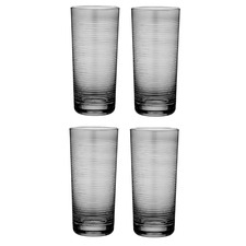 Linear Etched Charcoal 700ml Highball Tumblers (Set of 4)