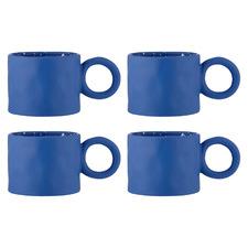 Cobalt Blue Linear Stoneware Mugs (Set of 4)