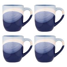 Blue Splice Café Stoneware Mugs (Set of 4)