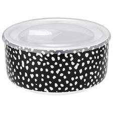 Intrinsic Black Dots Prep Microwave Stoneware Food Bowl