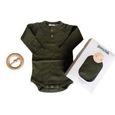 3 Piece Moss Newborn Cotton Bodysuit & Rattle Gift Set