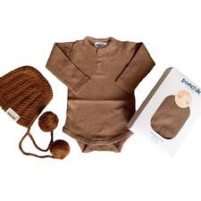 3 Piece Brown Newborn Cotton Bodysuit & Bonnet Gift Set
