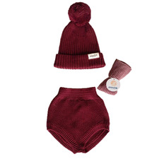3 Piece Maroon Knitted Cotton Bloomers & Beanie Gift Set