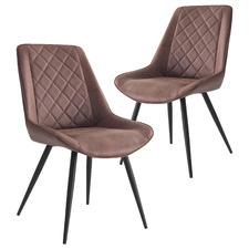 Brown Lera Faux Leather Dining Chairs (Set of 2)