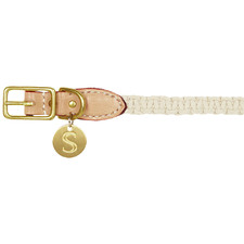 Sebastian Macramé & Leather Dog Collar