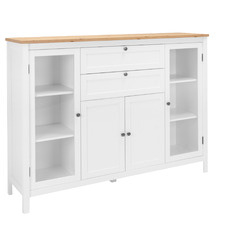 White Brenna Sideboard with Glass Doors