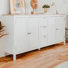 White Brenna 3 Drawer Sideboard
