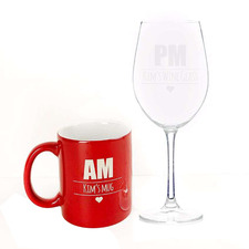 2 Piece Red Personalised Ceramic Mug & Wine Glass Set