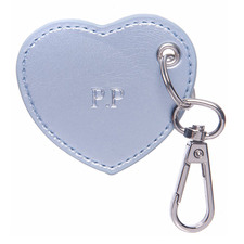 Metallic Blue Monogram Heart Personalised Recycled Leather Keyring
