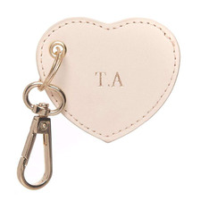 Nude Monogram Heart Personalised Recycled Leather Keyring