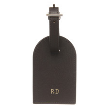 Black Monogram Personalised Recycled Leather Luggage Tag