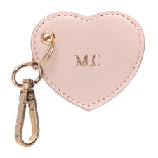 Metallic Pink Monogram Heart Personalised Recycled Leather Keyring