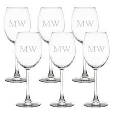 Initials Personalised 360ml Wine Glasses (Set of 6)