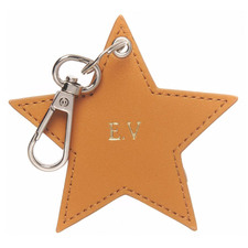 Tan Monogram Star Personalised Recycled Leather Keyring
