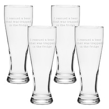 Trapped Beer 425ml Beer Glasses (Set of 4)