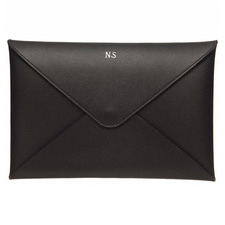 Black Monogram Personalised Recycled Leather A5 Envelope Pouch