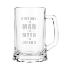 The Man, The Myth, The Legend Personalised 500ml Glass Beer Mug