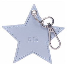 Metallic Blue Monogram Star Personalised Recycled Leather Keyring
