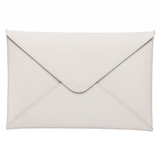 Grey Monogram Personalised Recycled Leather A5 Envelope Pouch