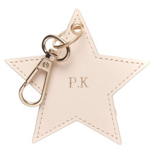 Nude Monogram Star Personalised Recycled Leather Keyring