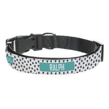 Turquoise Dog Paw Print Personalised Pet Collar