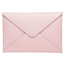 Pink Monogram Personalised Recycled Leather A5 Envelope Pouch