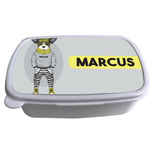 Kids' Hipster French Bulldog Personalised Lunchbox