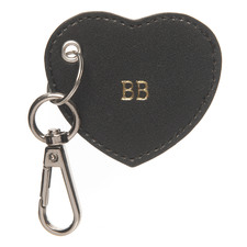 Black Monogram Heart Personalised Recycled Leather Keyring