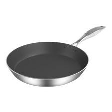 Silver & Black Stainless Steel Fry Pan
