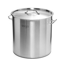 Silver Stainless Steel Stock Pot with Lid