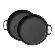 30cm Round Cast Iron Sizzle Platters (Set of 2)