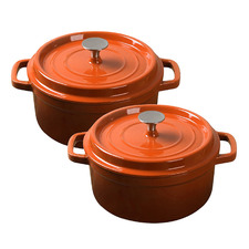 Orange Cast Iron Casserole Dishes (Set of 2)