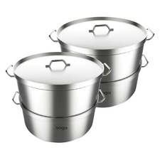 Silver Stainless Steel & Aluminium Steamers (Set of 2)