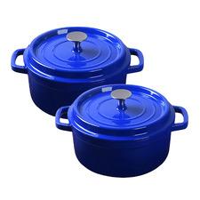 Blue 24L Cast Iron Casserole Dishes (Set of 2)