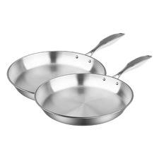 2 Piece Silver 24cm & 30cm Fry Pan Set