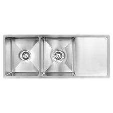 Vande Steel Double Kitchen Sink with Drainboard