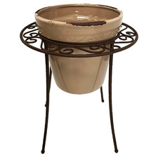 Brown Terracotta Pot On Stand