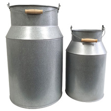 2 Piece Galvanized Metal Decorative Milk Cans