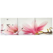 Magnolia Wall Art Triptych with Clock