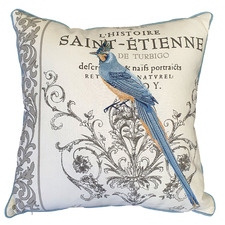 French Country Bird Cotton Canvas Cushion