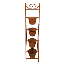 5 Piece Rust Ladder Planter Stand Set