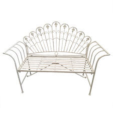 White Iron Garden Bench