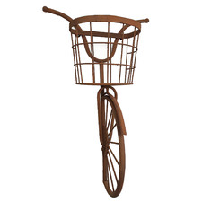 Rustic Brown Bicycle Iron Plant Stand